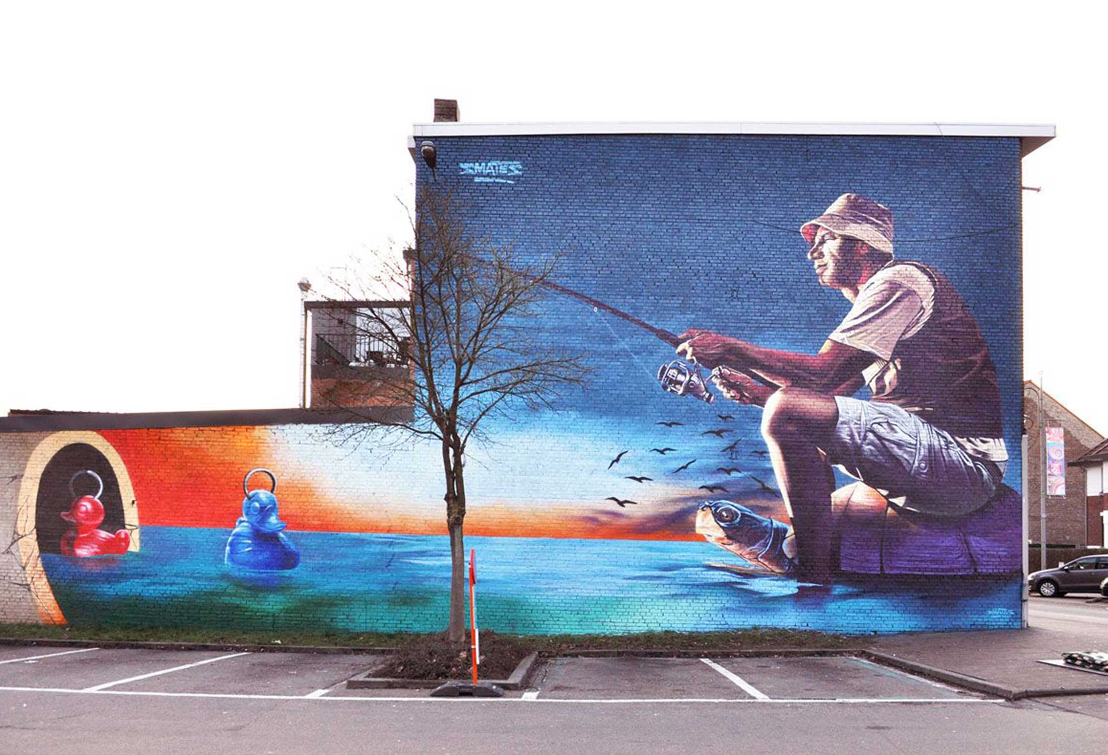 Dawn Fishing by Bart Smeets is a creative mural that transformed a boring brick wall into a beautiful piece of art in public places