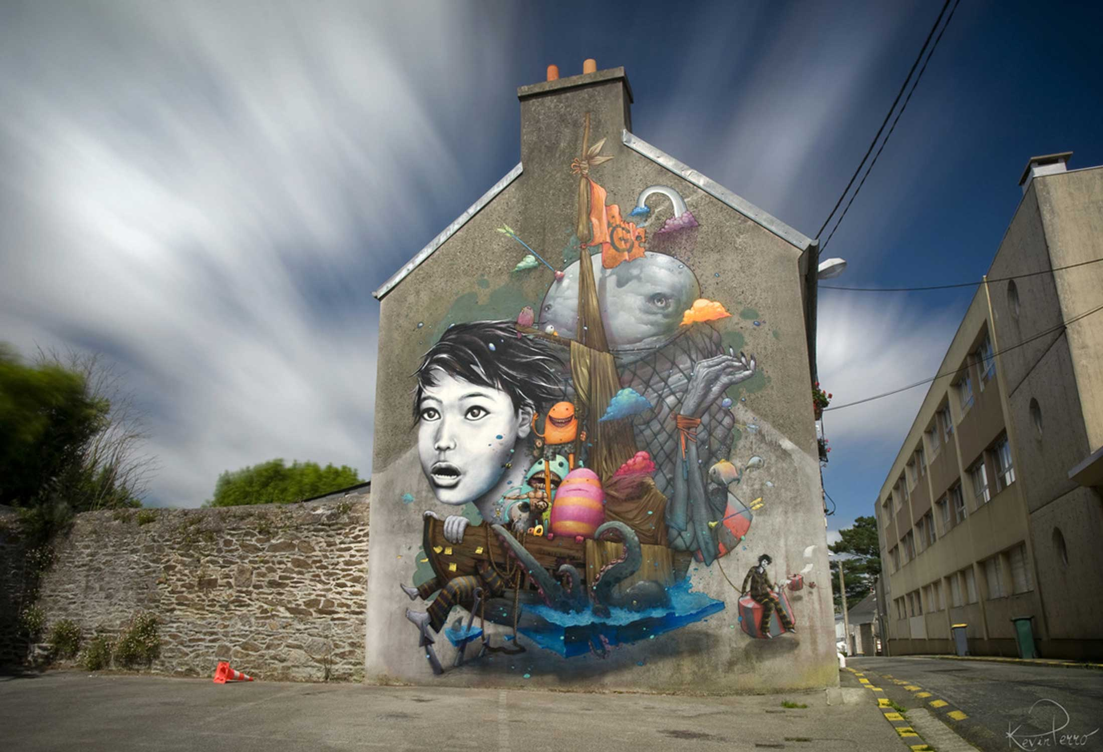 La Pêche Miraculeuse by Liliwenn and Bom. K is an enchanting and memorable mural with vibrant and beautiful colors.