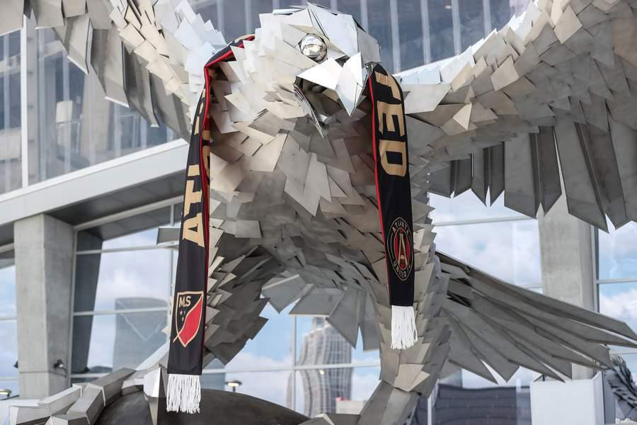 Made of durable materials, The Falcon is a magical piece of public art that unites Atlanta Falcons football fans.
