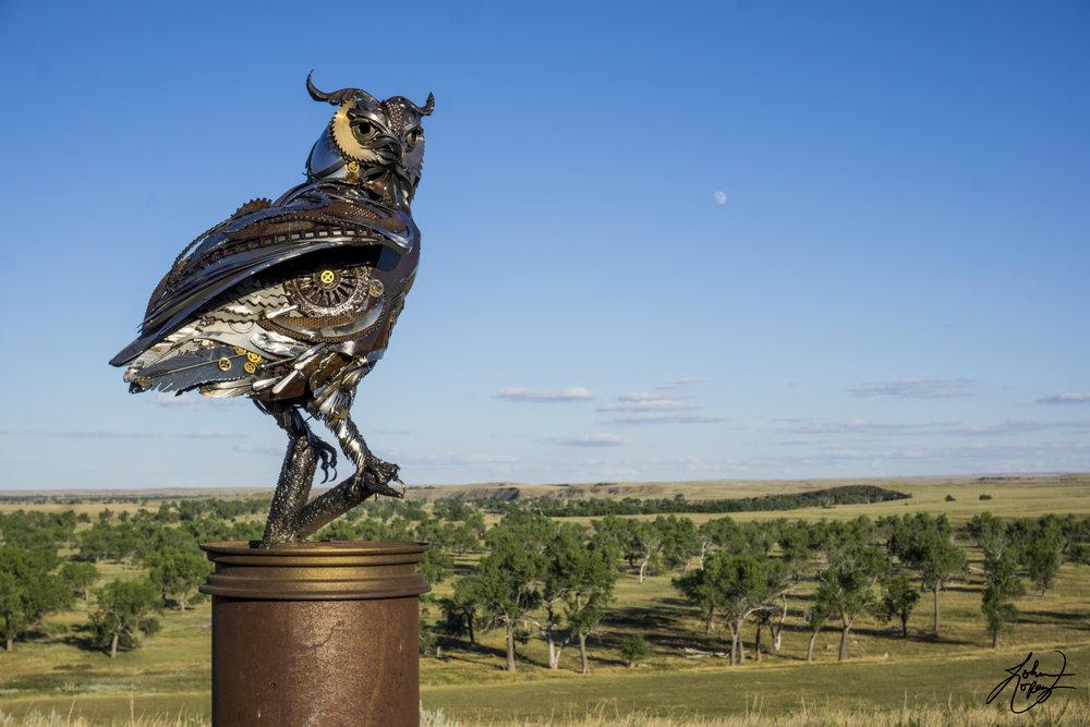 Steampunk Metal Sculpture Owl Lopez