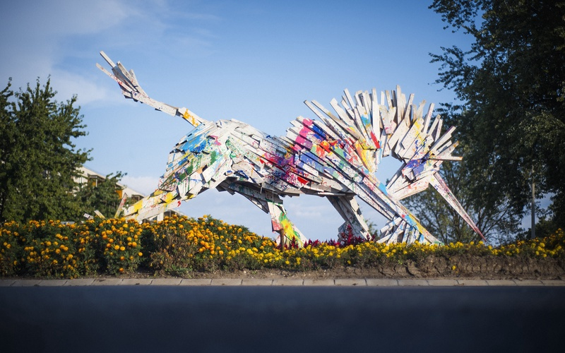 Gabor Szoke Rainbow Unicorn Recycled Wood Sculpture