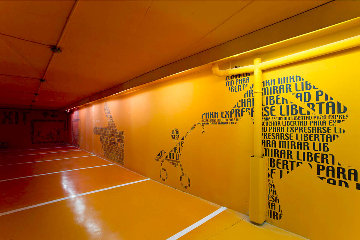 Teresa Sapey reinvented a dull and unwelcoming place with parking lot art at the Puerta de América hotel. This garage is a design example inspiring many.