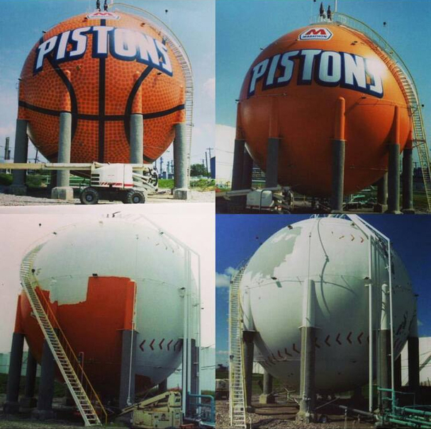 Eric Henn Pistons Basketball Gas Tank Mural