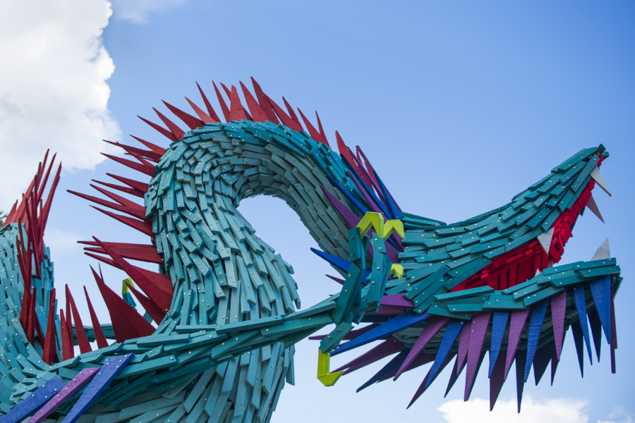Gabor Szoke Chinese Dragon Public Animal Sculpture Closeup