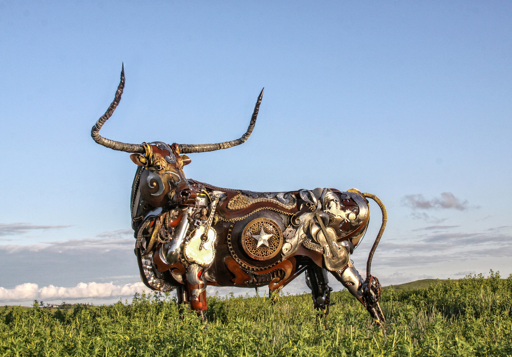 Scrap Metal Animal Sculpture John Lopez Longhorn