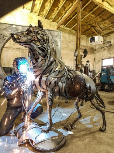John Lopez Wolf Scrap Metal Sculpture