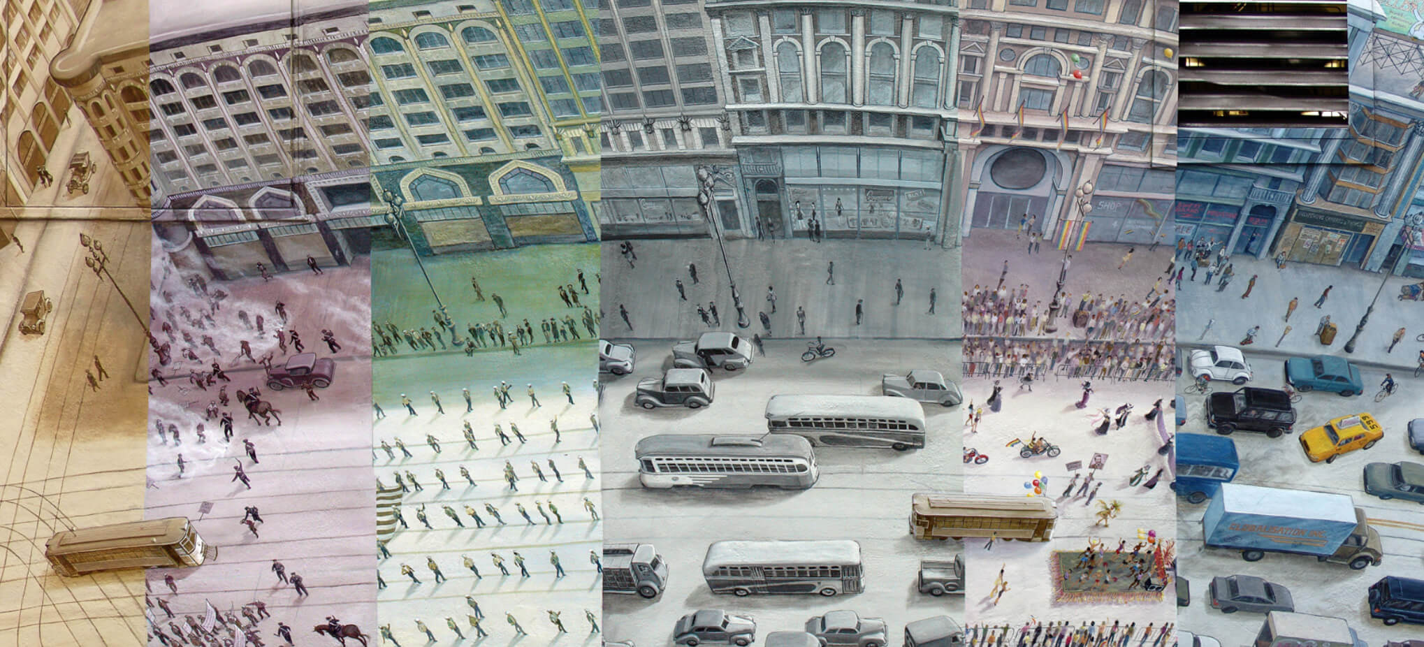 View of the different panels featured on the Market Street Railway mural