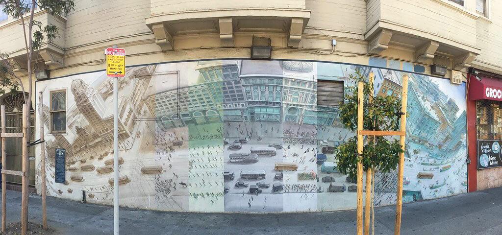 Street-view of Mona Caron's Market Street Railway mural