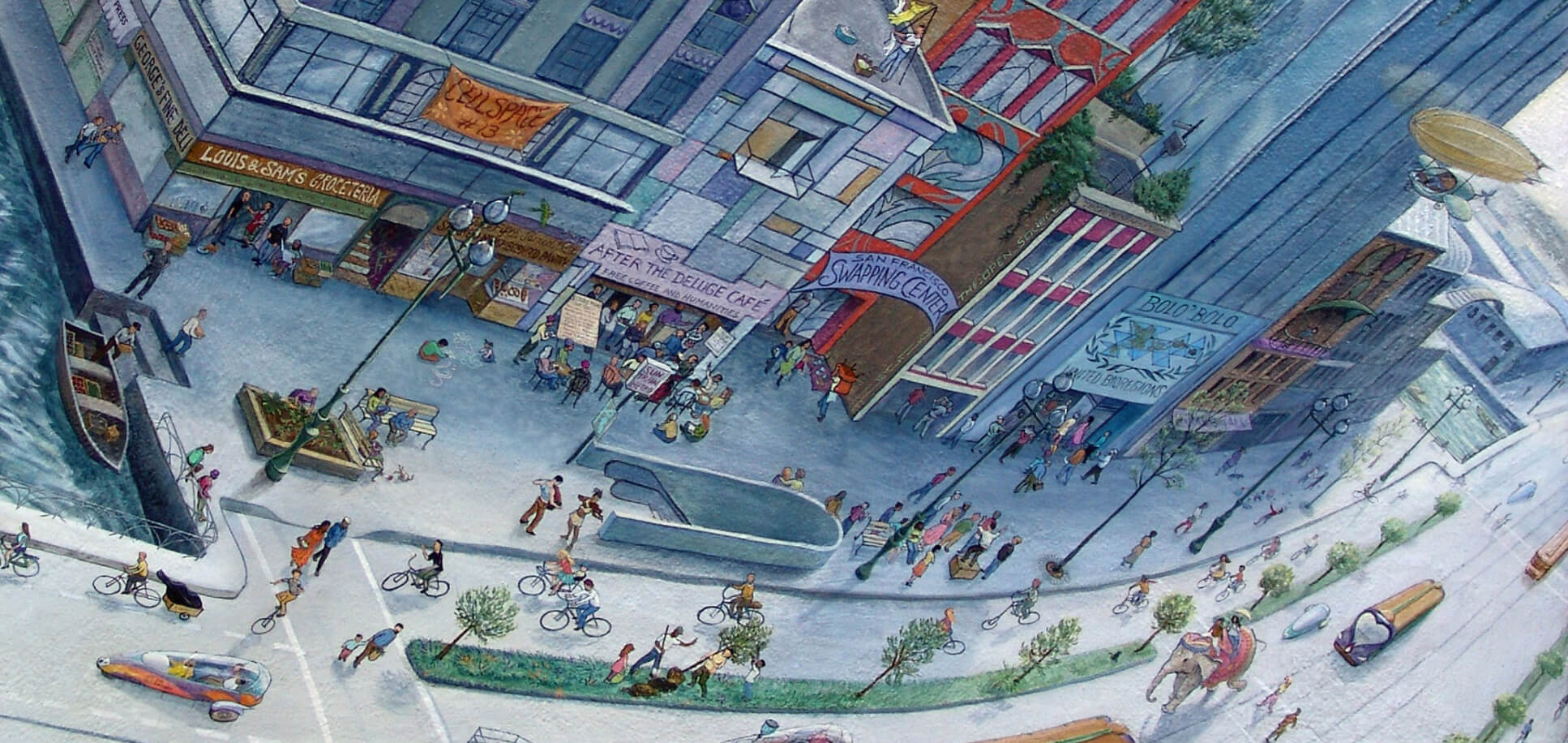 The last panel of the Market Street Railway mural portraying the future